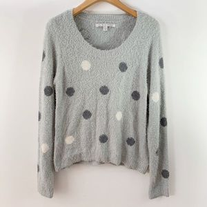 LC . Fuzzy Soft Polka Dot Sweater . L